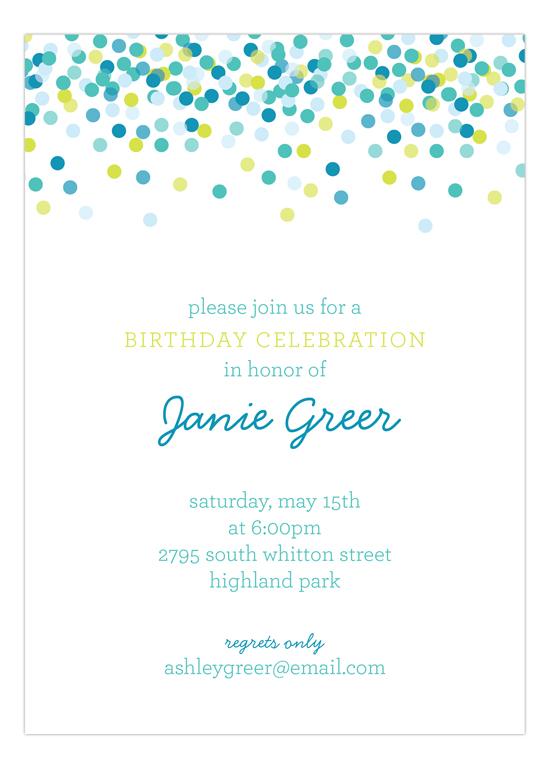 Blue Falling Confetti Invitation