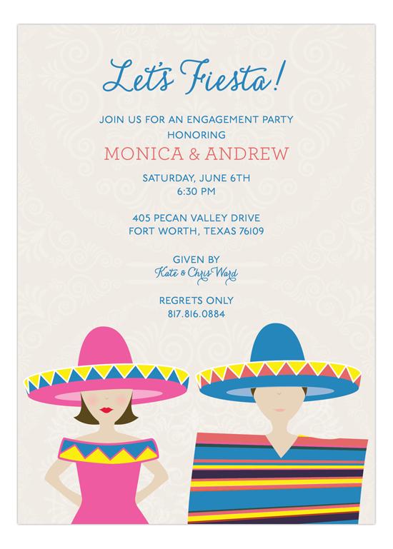 Brunette Fiesta Couple Invitation Polka Dot Invitations