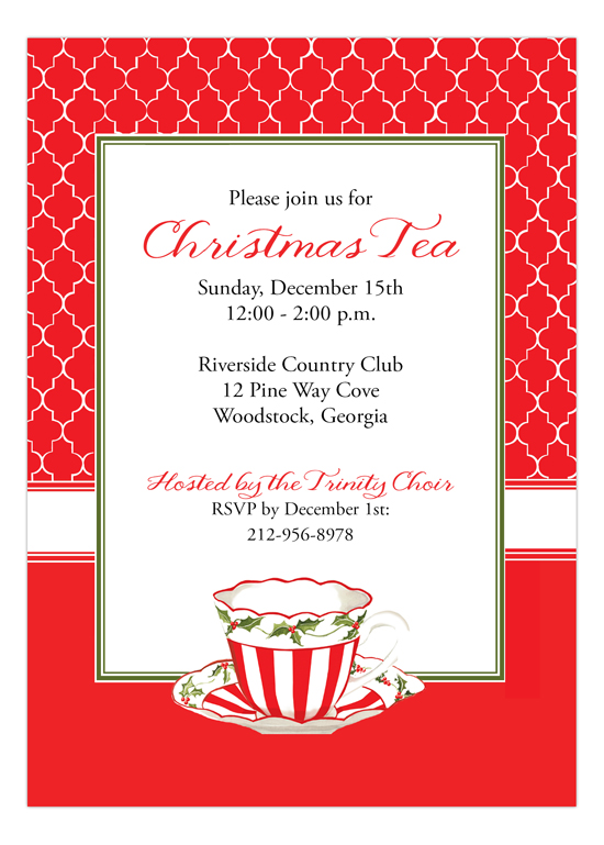 Peppermint Red Christmas Tea Invitation