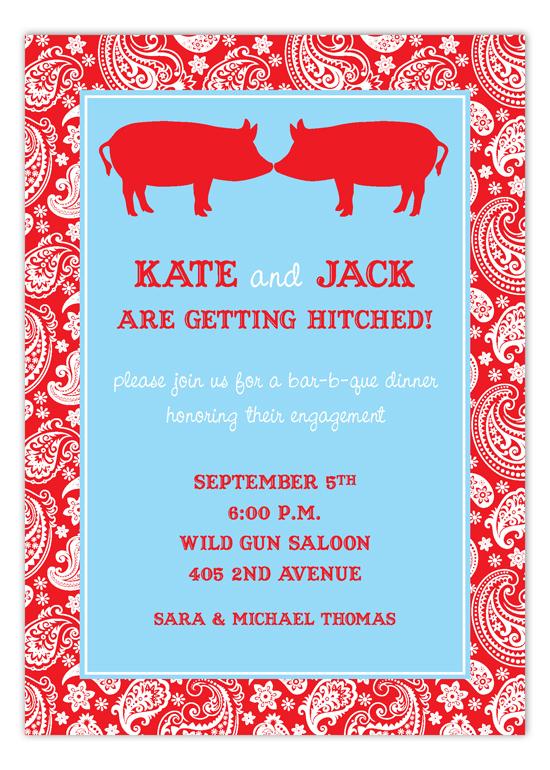 Kissing Pigs Bbq Invitation Polka Dot