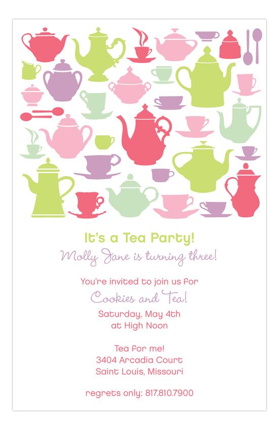Tea Time Silhouettes Party Invitation Polka Dot Design