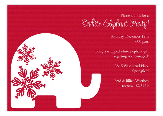 Red Background Trendy White Elephant Invitations Polka