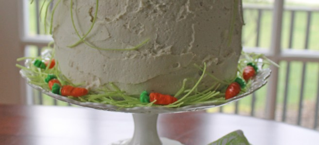 four-layer vanilla bunny cake   polka dots and picket fences
