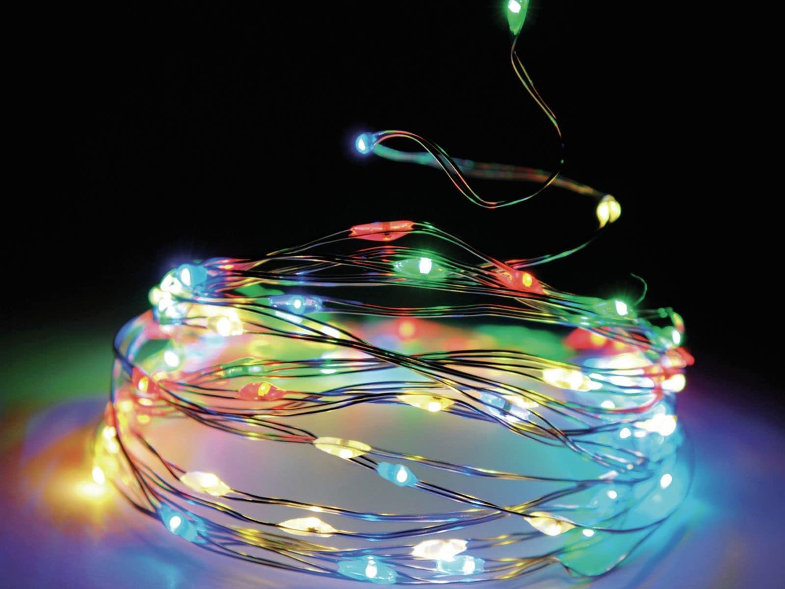 Led Lichterkette Silberdraht 20 Leds Bunt Batteriebetrieb Online Kaufen Pollin De