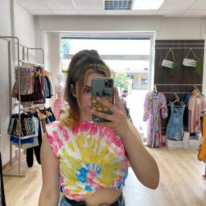 T shirt con spalline sfumata