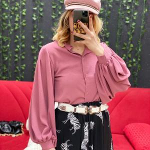 Camicia manica a sbuffo rosa