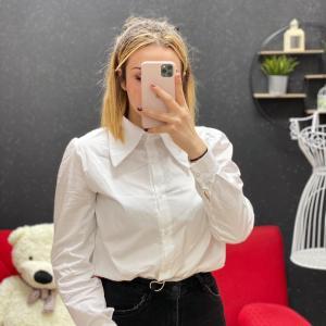 Camicia white maxi colletto