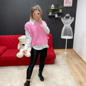 Gilet con volant rosa barbie