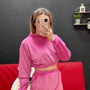 Tuta in ciniglia rosa barbie