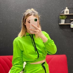 Coordinato tuta verde fluo