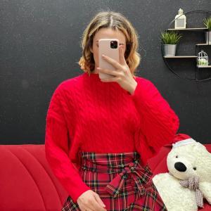 Maglione crop con trecce rosso