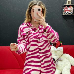 Camicione zebrato fucsia in panno