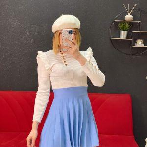 Maglia con rouches e bottoni white