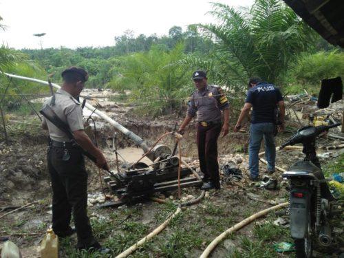 Ilegal Minning Di Tabir, Polisi Sita 2 Mesin Dompeng