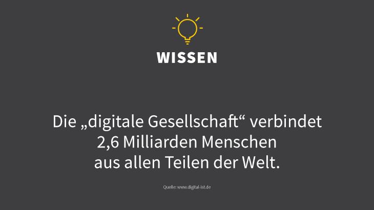Die Welt ist digital vernetzt! Quelle: http://www.digital-ist.de/aktuelles/zahlen-des-monats.html