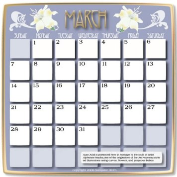 calendar page done in Adobe Illustrator
