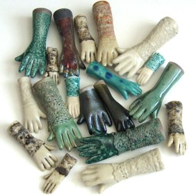 slipcast ceramic hands