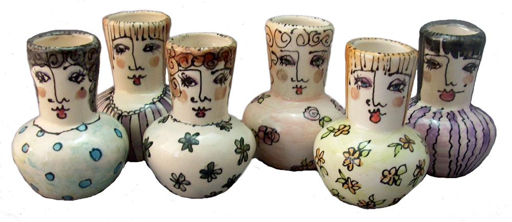 slipcast ceramic people pots