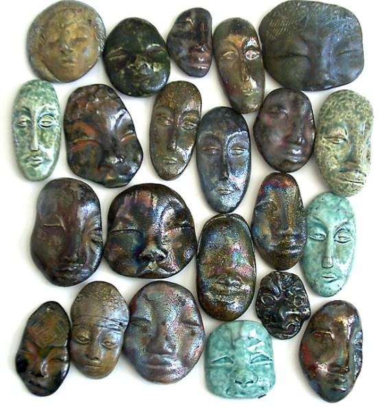 raku fired ceramic face cabochons