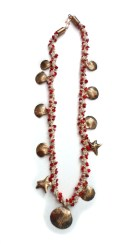 kumihimo with coral bone pearls and etched bronze
