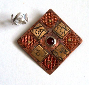 silver copper and bronze jewelry quilt