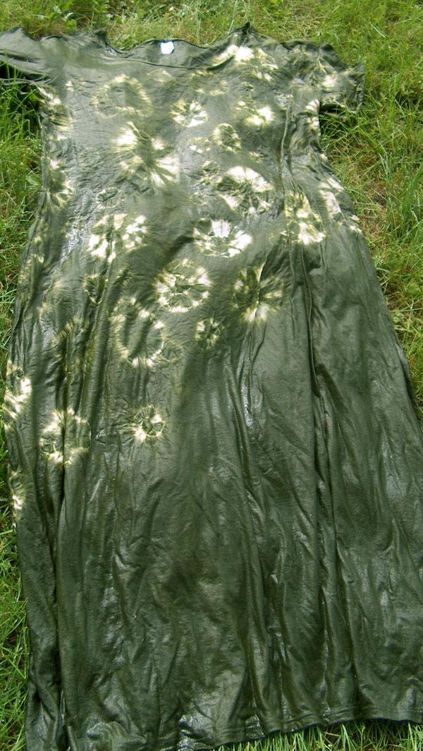 shibori dyed dress with diagonal design