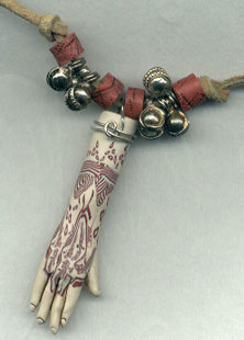 mehndi hand bead made of polymer clay