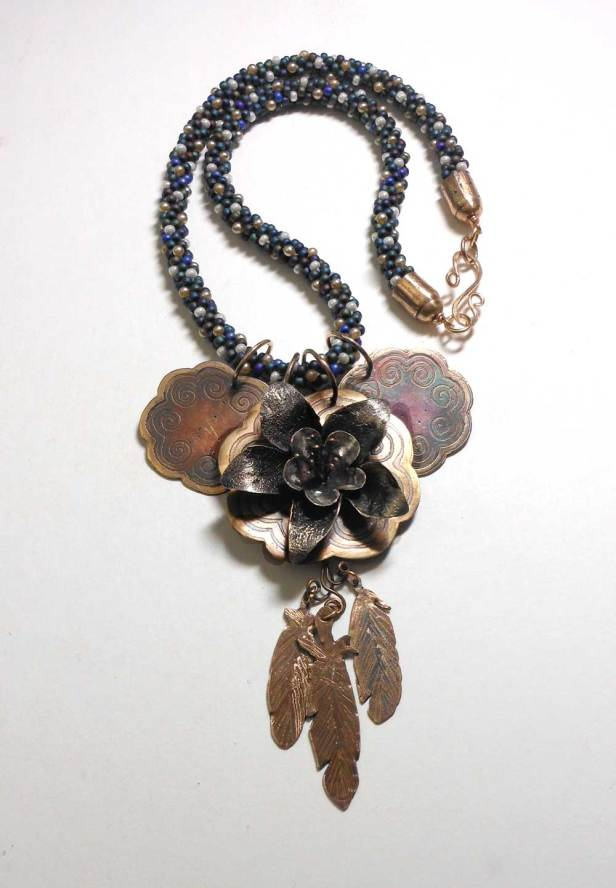 kumihimo and etched bronze and silver columbine memento necklace
