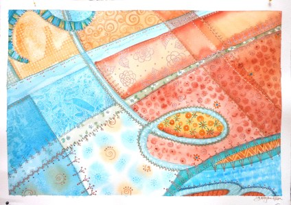 watercolor abstract signature crazy quilt