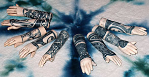 tribal tattoo hand beads made of polymer clay