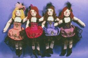cloth painted chorus line dancehall gir dolls