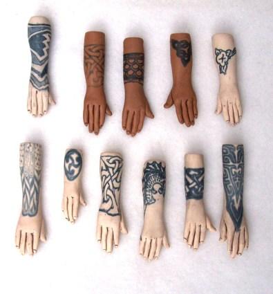 polymer clay tattoo hand pendants