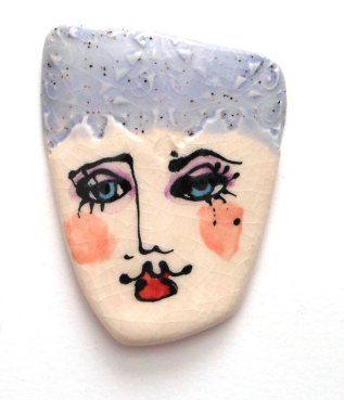 ceramic face with underglazes
