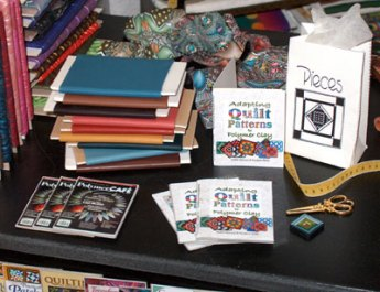 polymer clay and paper miniatures from quilt store