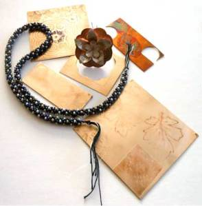 etched bronze silver kumihimo bead braid
