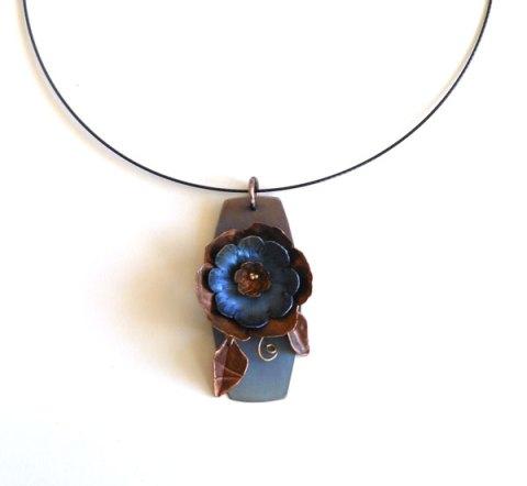anodized niobium and copper flower pendant