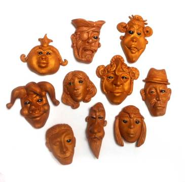 Sherman Oberson miniature polymer clay masks