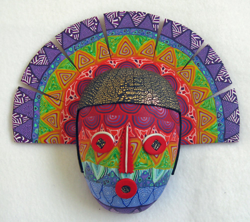 Rainbow Kachina polymer clay mask by Ann Kruglak