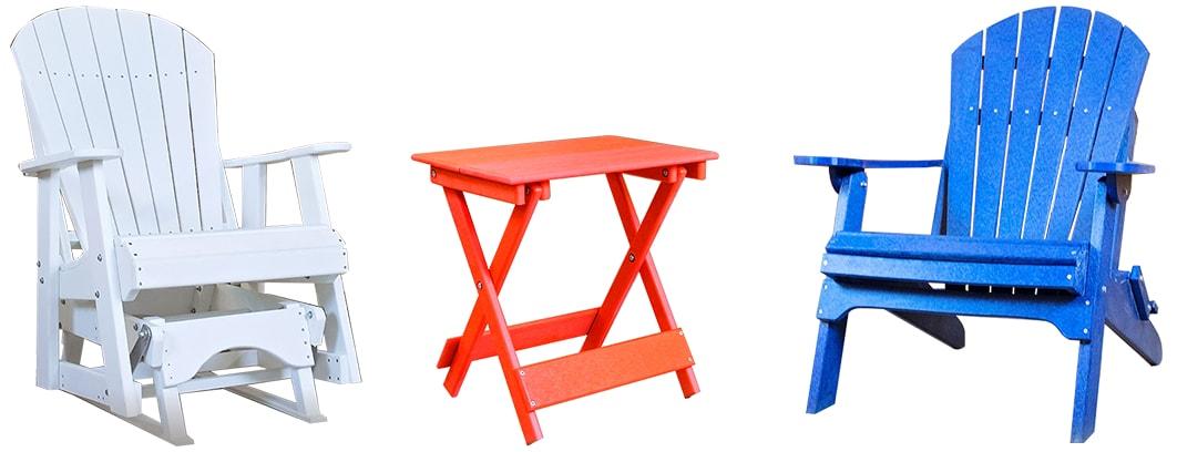 Poly Furniture USA, Amish Made Adirondack 2' Glider, Poly Table And Adirondack Chair