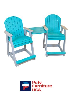 Poly Furniture USA - Counter Height Tete a Tete Chair, Aruba Blue on Light Gray