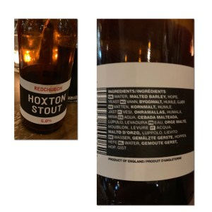Hoxton Stout - complete with ingredients in multiple languages!