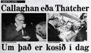 Callaghan or Thatcher? They decide today! (Timarit.is)