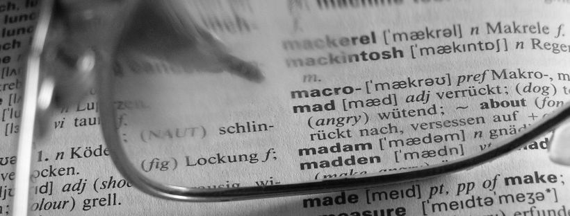 A page from a German dictionary with the translation of various words. Image from freeimages.com.