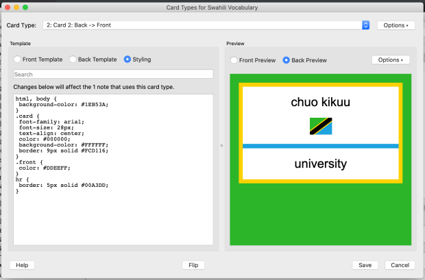 Brightening up some Swahili vocab cards using CSS in Anki