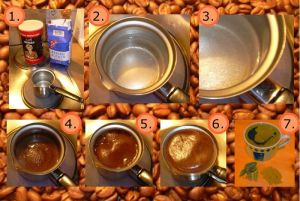 Author: Oliver Merkel, via Wikipedia Commons Preparation of mocha coffee (Turkish Coffee). 1: Ground coffee, water, sugar, and heat source. 2, 3: heat the water till it starts bubbling. 4: add coffee. 5: continue heating and mixing. 6: heat until the mixture starts to rise, then take off the heat source to settle it down while mixing the upper part (repeated many times). This creates a foamy top. 7: pour and serve hot