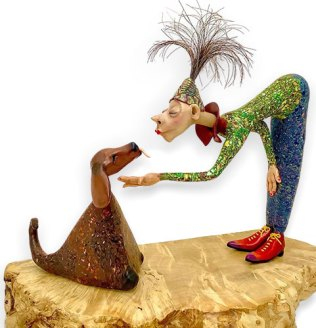 Retired RN Lea Gordiner focuses on mixed media creatures on PolymerClayDaily.com