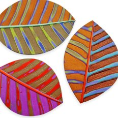 Meisha Barbee plays with leaves and mokume gane on PolymerClayDaily.com