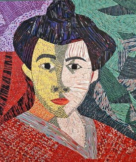 Angela Barenholtz recreates Matisse portrait in polymer veneers on PolymerClayDaily.com