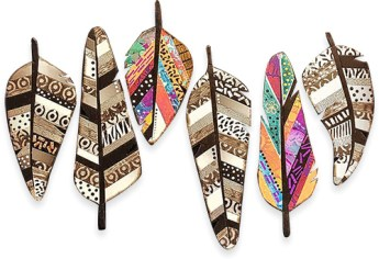 Debbie Crothers combines patterns for upcoming feather classes in the US on PolymerClayDaily