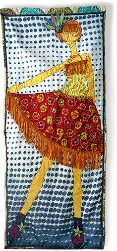 Doroshow's fabric/jewelry wall art on PolymerClayDaily.com